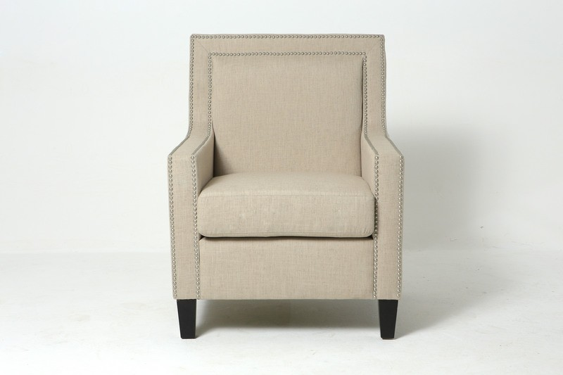 Decorative brass nailhead fabric chair with ISO9001 certificate