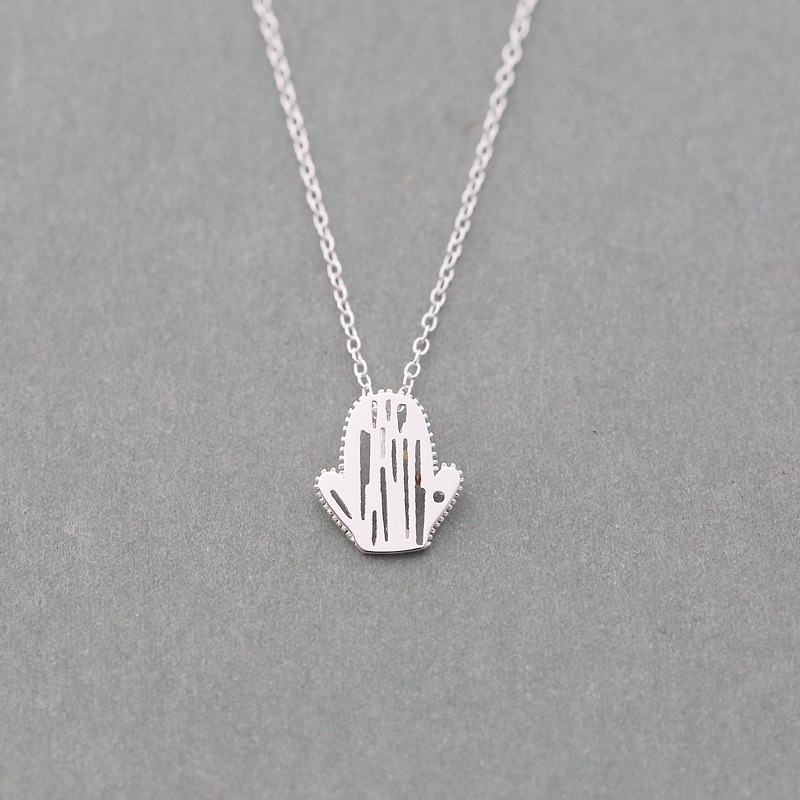 Fashion Jewelry 925 Sterling Silver cactus Pendant Necklace