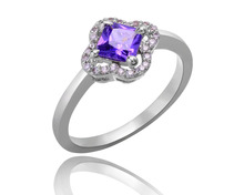 R0664 amethyst gemstone lab created diamond ring for wedding