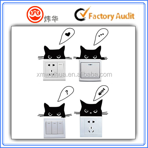 Hot sale cartoon Vinyl switch decorate sticker , window decorate sticker , door sticker