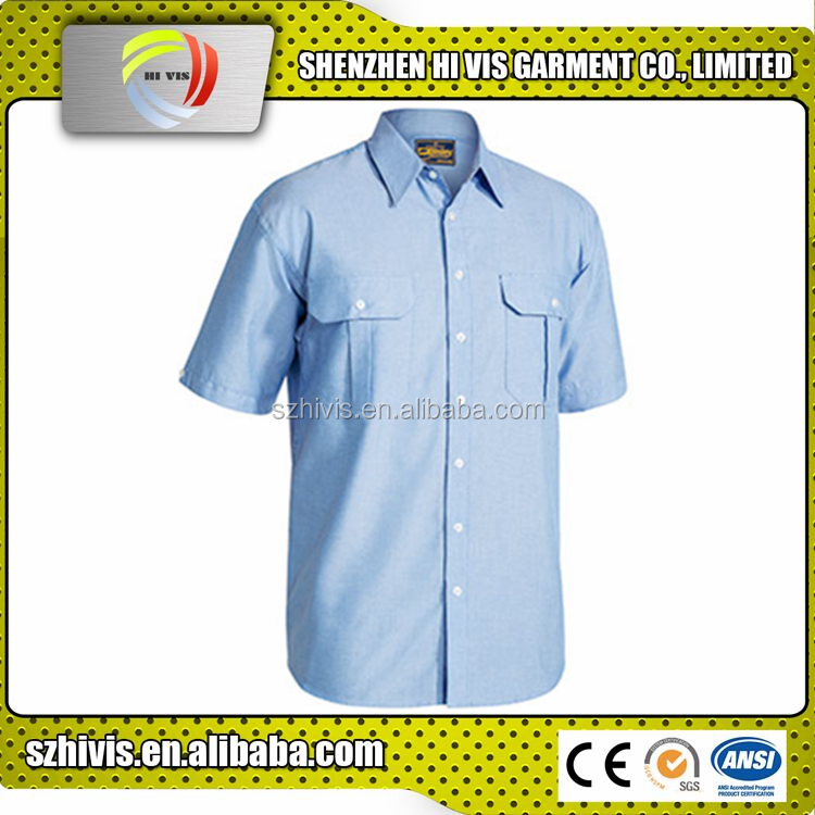 hot sale custom work blue polyester/cotton mens oxford shirts