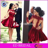 CE1149 Best Selling Wholesale Sheer Long Sleeve Red Appliques Lace Cocktail Dress