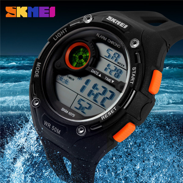 Skmei 1075 Large Dial Black Color Cheap Price Men Digital Sports Watch