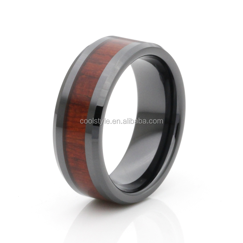 Zirconium Black Ceramic Ring with Mahogany Wood Inlay Comfort Fit Wedding Band