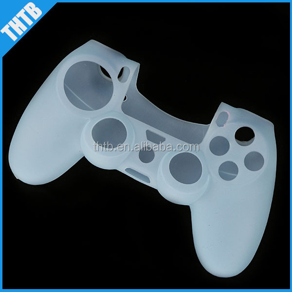 Silicone protective shell cover case for PS4 game controller (light blue)