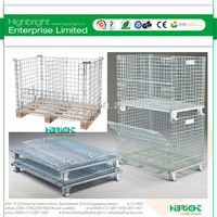 folding warehouse steel collapsible steel shipping cage