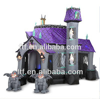 2014 hot sale halloween festival decoration purple giant inflatable haunted houses