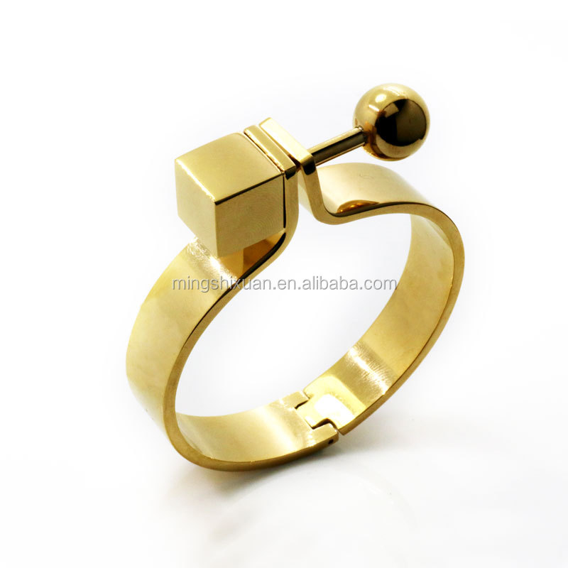 Screw bangle with gold and rose gold plating shiny polishing stainless steel vogue bangle