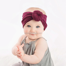 Popular American Style Baby Turban Nylon Headwrap Solid Burgundy Little Girls <strong>Hair</strong> <strong>Accessory</strong>