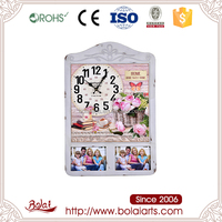 White rectangular two photo frame and circular dial mdf wall clock china