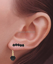 Gold & Jet Black Crystal Ear Pin Earrings & Enhancers