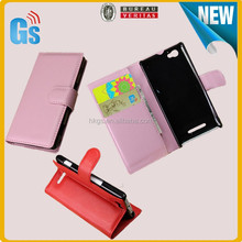 Credit Card Holder Design Litchi Leather Mobile Phone Case Flip Cover For Sony Xperia M C1904 C1905