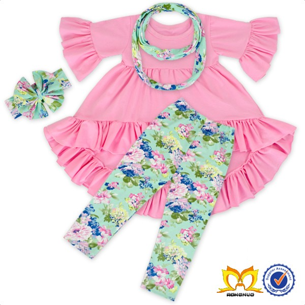 Pink Ruffle Tunic Scarf And Leggings High And Low Set Girls Children Boutique Clothing