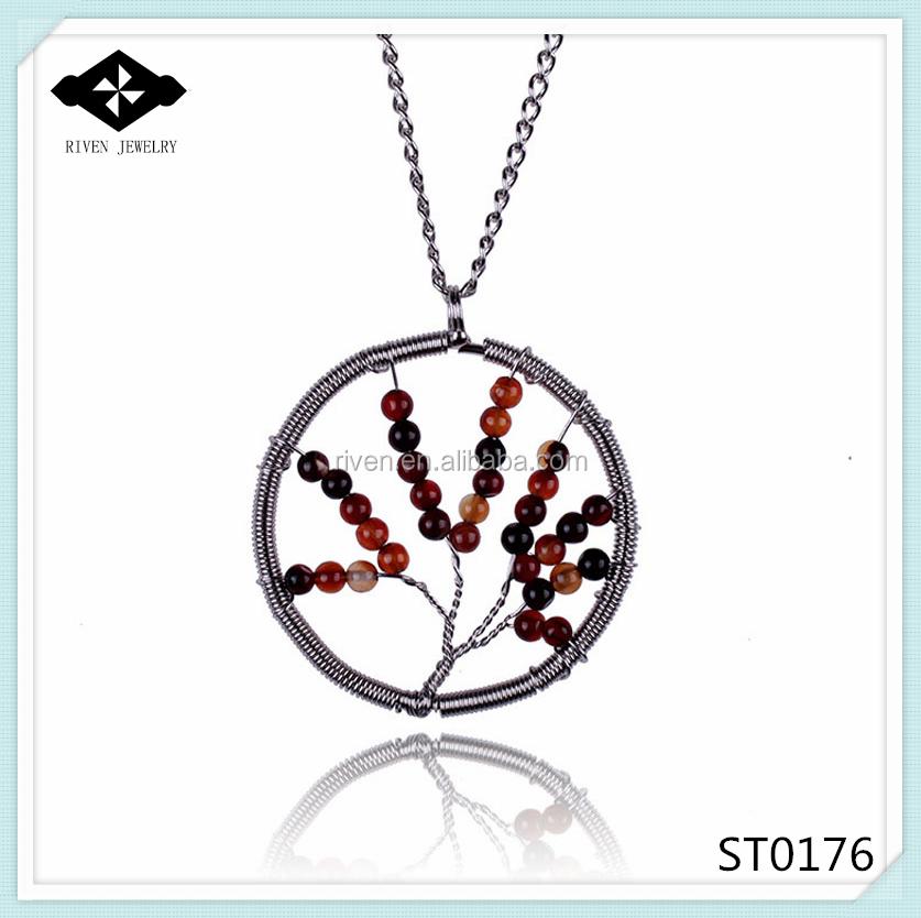ST0176 Ebay Hot Sale Tree Of Life Small Stone Semi-precious Pendant Necklaces For Women.jpg