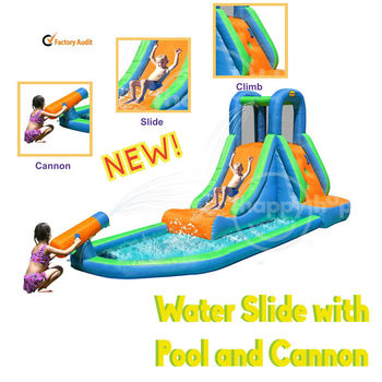 Happyhop 9140--ultimate combo inflatable wet dry castle slide pool,Inflatable Water Slide with Pool and Cannon