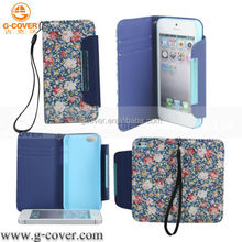 Flower fabric case for iphone 5,Wallet case for iPhone 5
