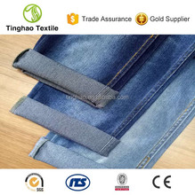 Fashionable soft indigo cotton mixed denim fabric for sale