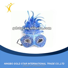 party mask, venetian mask, halloween mask with blue feather flower