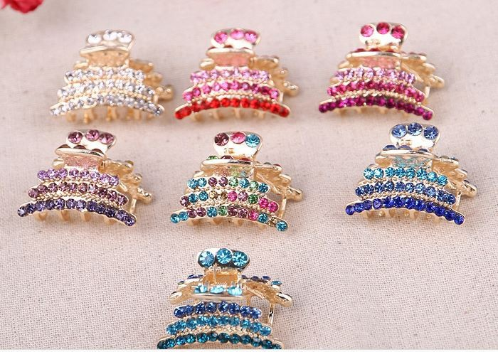 fancy Style Hair Accessory Small colorful rhineatone Hair Claw for Women