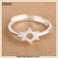 Folk designers coolman jewelry wholesale ,brushed stamp style s925 sterling silver star of david ring for global market