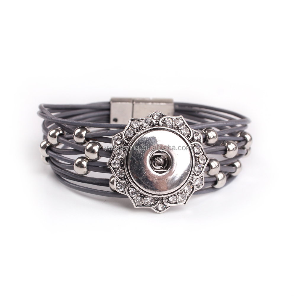 Fashion Interchangeable Jewelry Paving CZ Beautiful Flower Charm Metal Bead Leather Bracelet Ginger Snap Button Jewelry