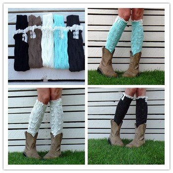Lace Women's Knitted Leg Warmer Boot Cuffs