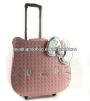 18inch pu leather cute ladies laptop hello kitty trolley bag for school