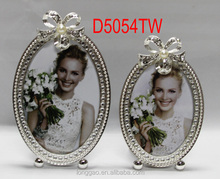 Metal Picture Photo Frame with Rhinestones and Pearls