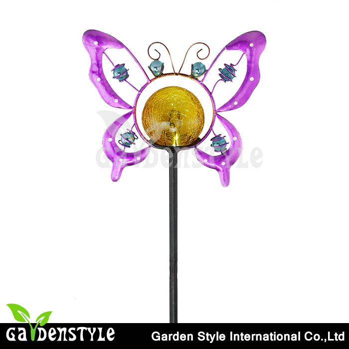 solar stake butterfly design cracked glass ball led lights china price list