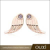OUXI New model fashion gold plated angel wing antique jade earrings