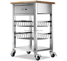 Stainless steel rolling kitchen cabinets kitchen cart with wood top