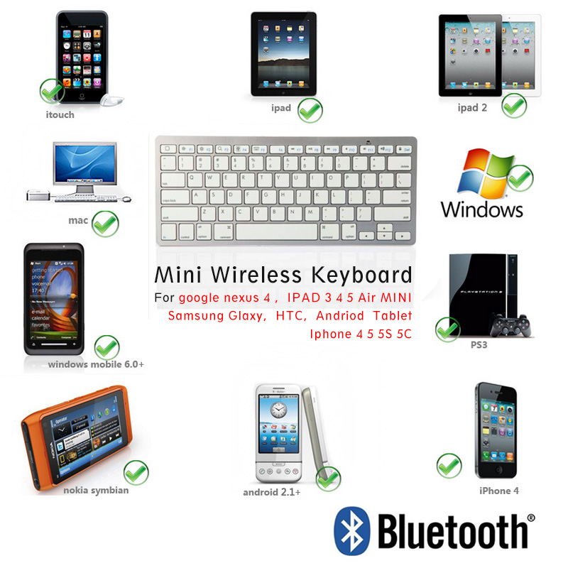 mini bluetooth keyboard for google nexus 4 Android tablet IPAD Air Mini IPAD 2 3 4 iphone 5 5c 5S HTC Samsung