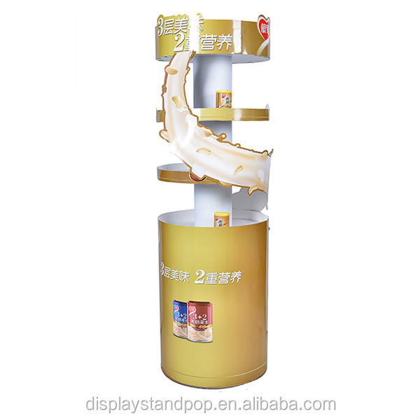 fashional drum cardboard display ,pop diaplay for drink rack