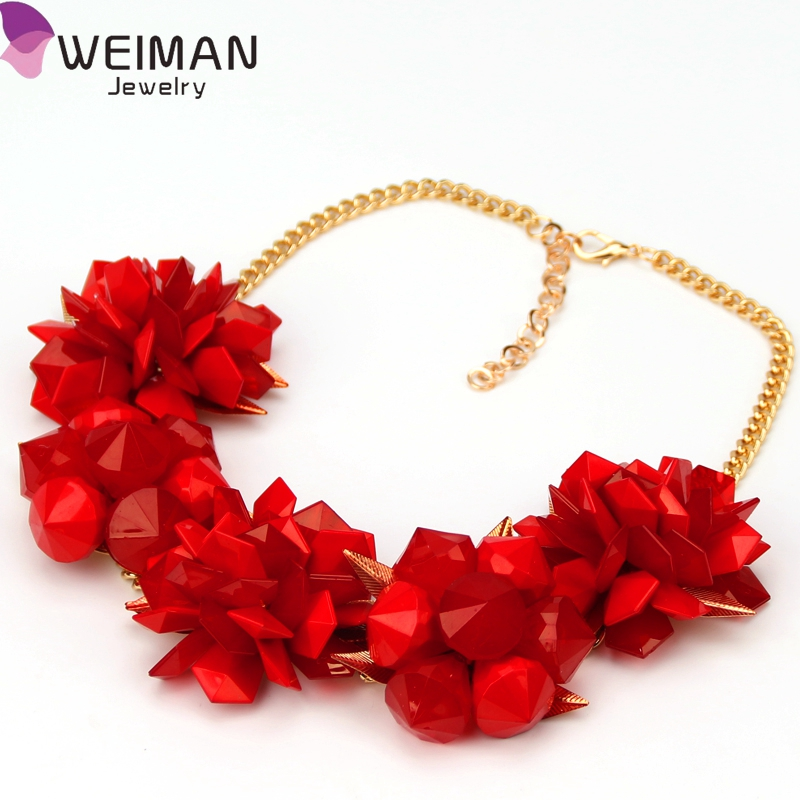 Geometrical Resins Flower Necklace Women Maxi Chokers Collar Bib Statement Necklaces & Pendants Gold Leaves Charm Jewelry