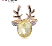 Golden Tone Oval Face Yellow Stone Crystal Rhinestone Moose Ring
