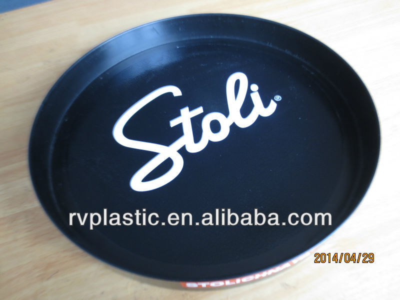 full color printing anti-slip finish plastic round serving tray