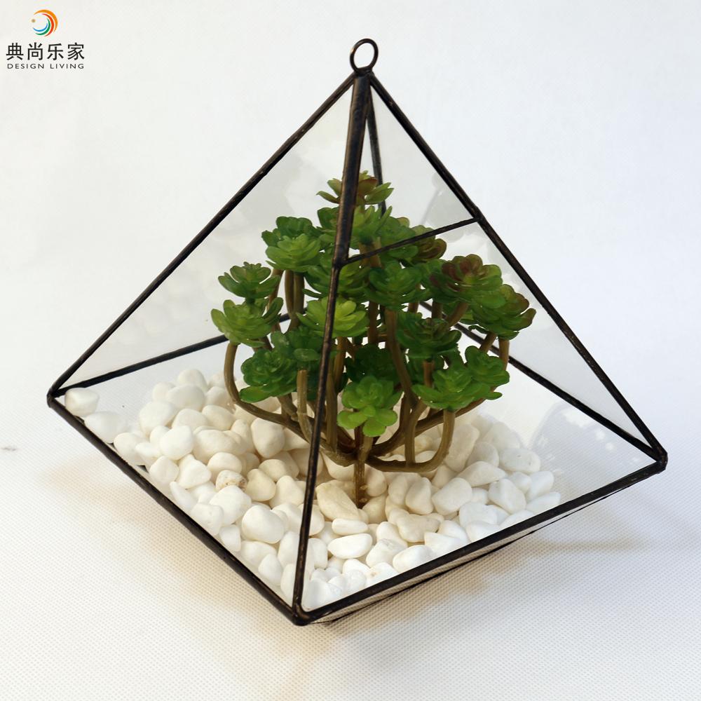 Hanging Or Tabletop Black Geometric Terrarium Vase Pyramid Glass Box