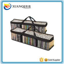 Leopard top clear PVC CD storage bag with short handle