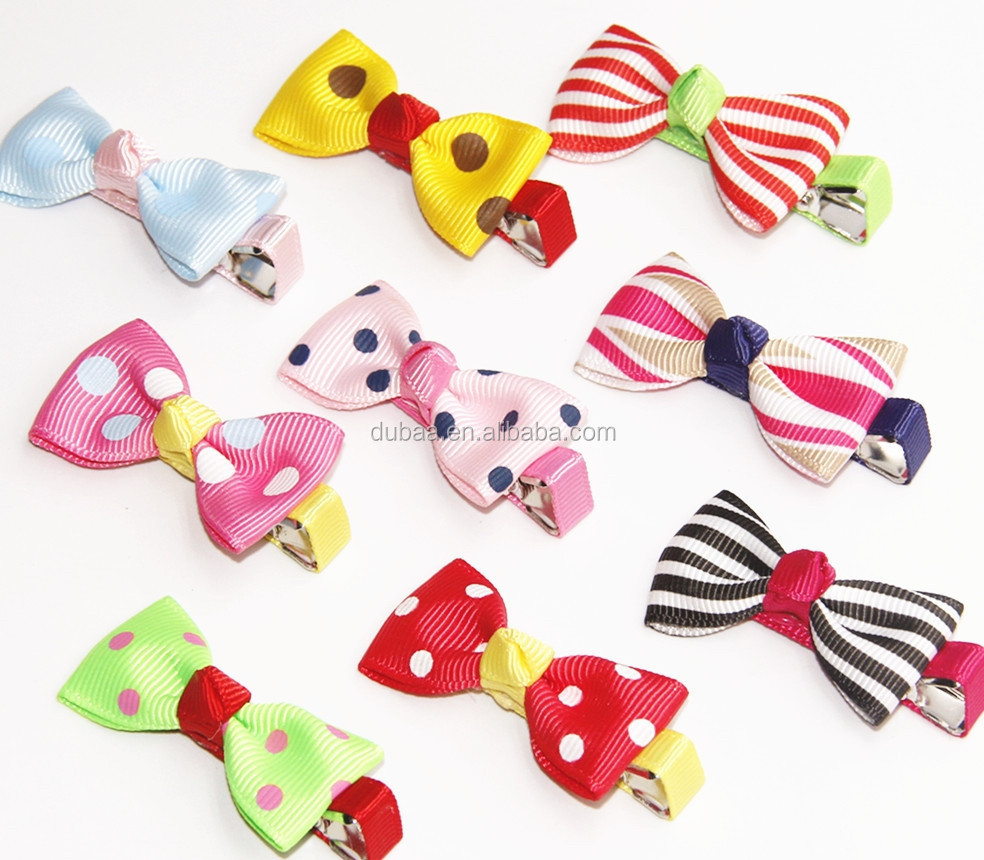 Hair Clips Barrettes Ribbon Bows - 9 pcs of Uniquely Designed For Baby, Toddler, and Young Girls