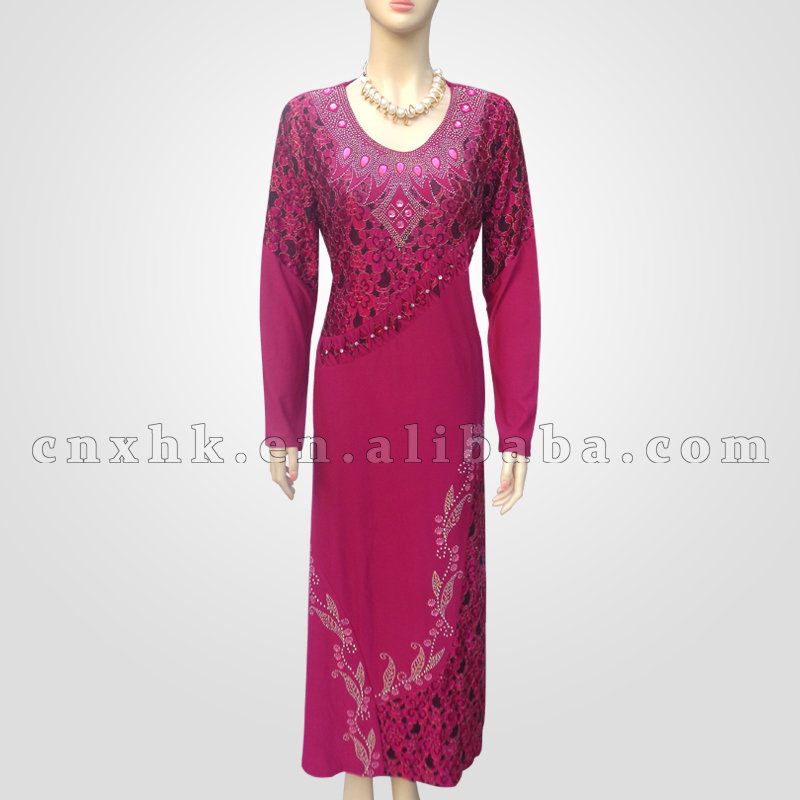 Women Daily wear Front Stone and Lace Design Long Muslim Abaya For Arabian