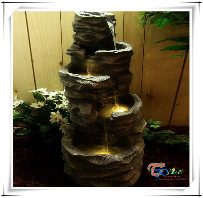 lighted led cascade outdoor rock water fountain waterfall garden buy. Black Bedroom Furniture Sets. Home Design Ideas