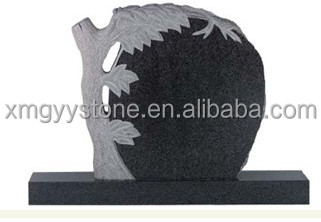 India black granite tree carving headstone for graves