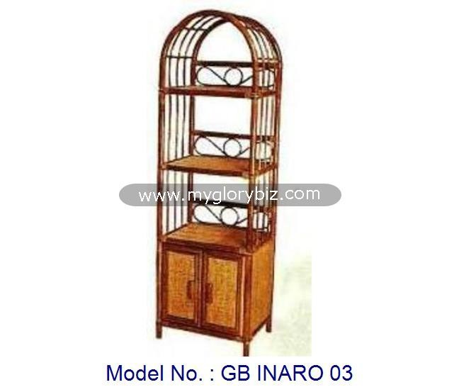 Indoor Home Rattan Display Cabinet Rack With Door Simple Furniture In Antique Look