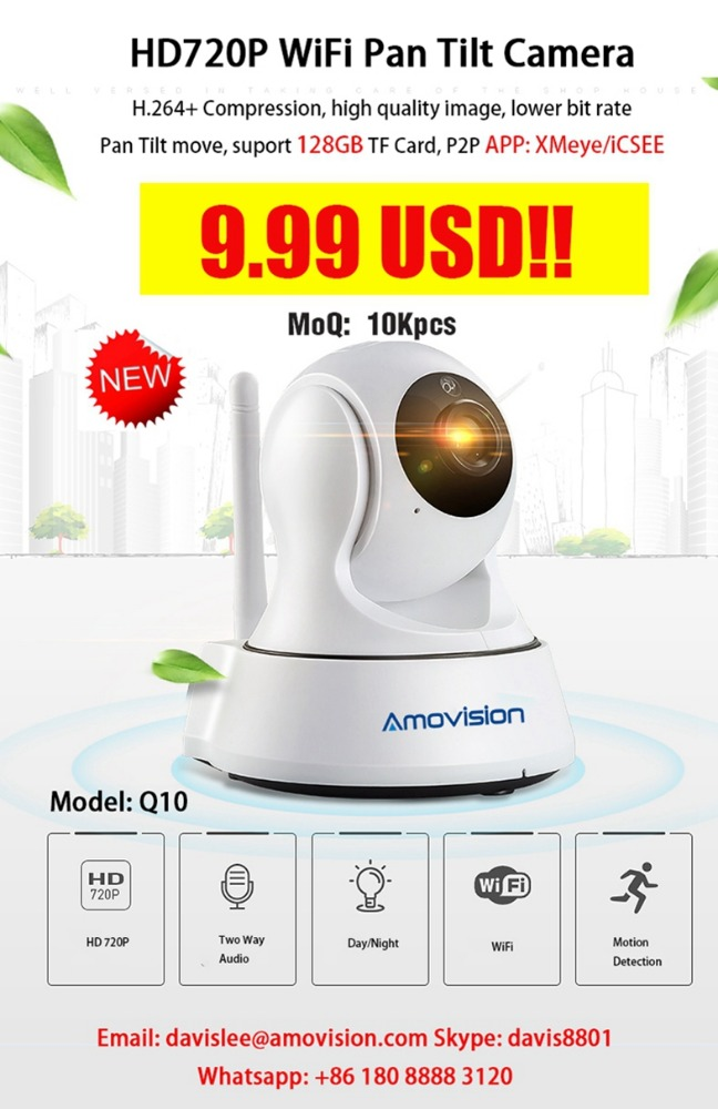 9.99 USD Amovision <strong>Q10</strong> HD720P 3X Digital ZOOM IP camera wifi connection, wireless p2p pan tilt control camera