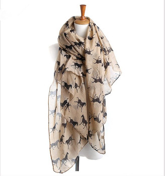 Wholesale Fashionable Women Gorgeous Designer Style Horse Print Scarf, Shawl, Sarong