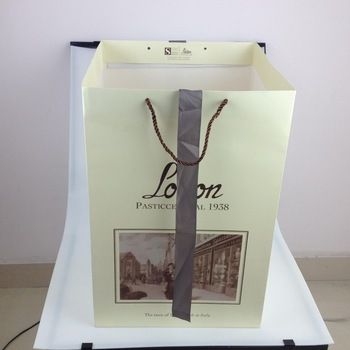 hot sale carry bag competitive FSC shopping paper bag with ribbon and PP rope