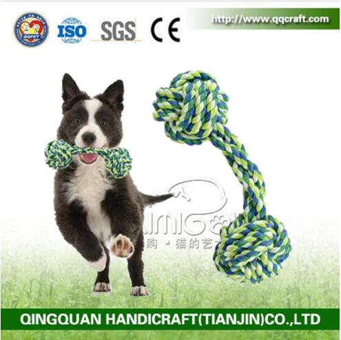 New listing Candy Color Cotton Rope Dumbbell Pet Toys Pet Products Latex Dog Toy