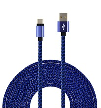 dark blue usb to usb c cable for android smartphones, nylon braided jacket