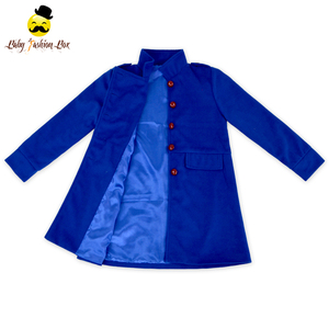Hot Sale Baby Winter Clothes Boutique Double-Breasted New Pant Coats Design Royal Blue Wool Girls Long Coat