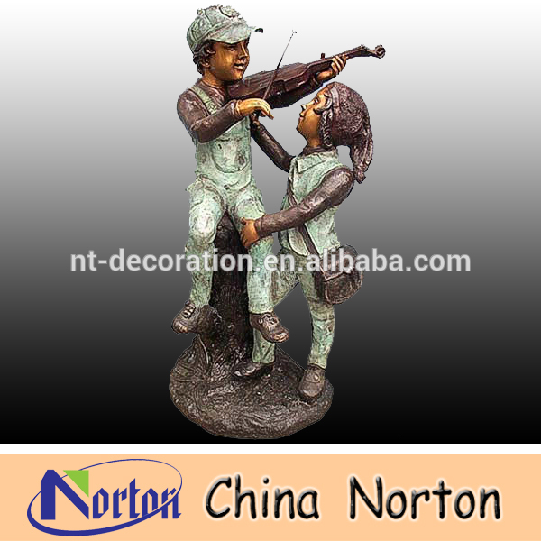 life size boy and girl bronze statue outdoor NTBH-S697X